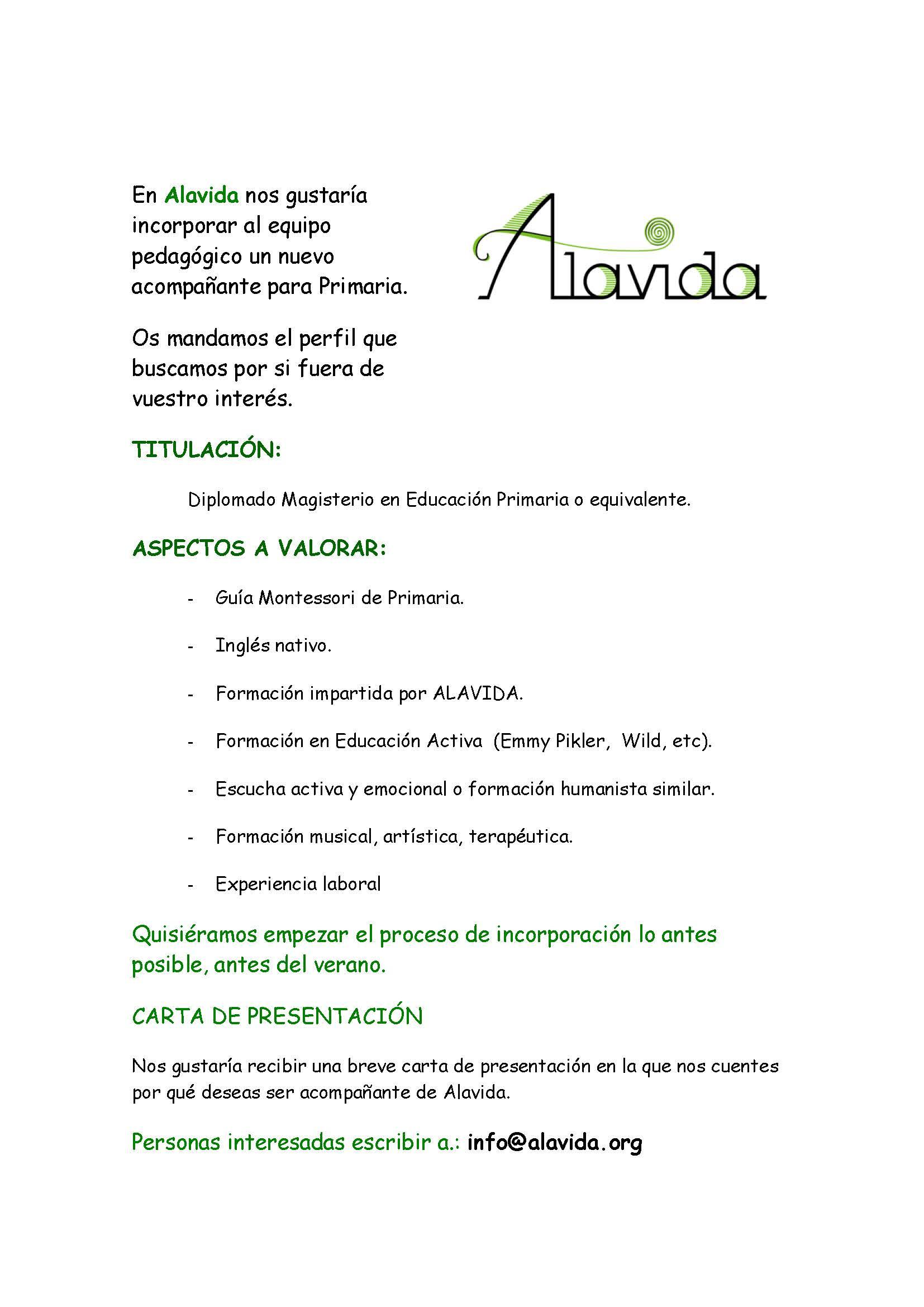 OFERTA DE TRABAJO-Acompañante Primaria--05-04-17-